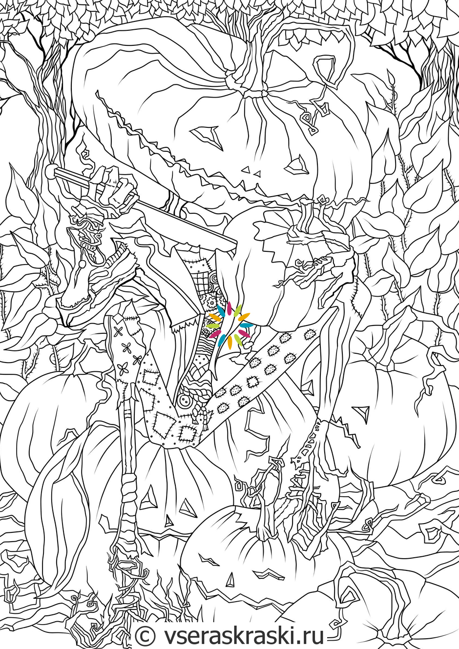 Adult coloring halloween page